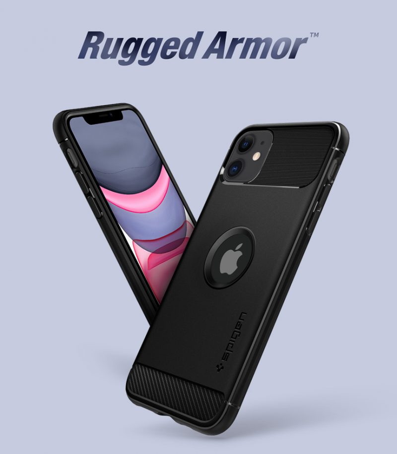 Coque iPhone 11 Spigen® Rugged Armor - Noir-details (6)